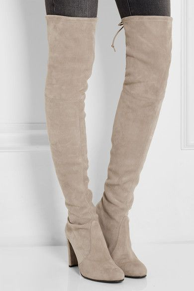 Stuart Weitzman - Highland Stretch-suede Over-the-knee Boots - Light gray - IT41.5