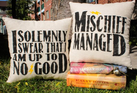 "Harry Potter ""I Solemnly Swear/Mischief Managed"" Marauder's Map Pillow Set - 2 Pillows on Etsy, $30.00"
