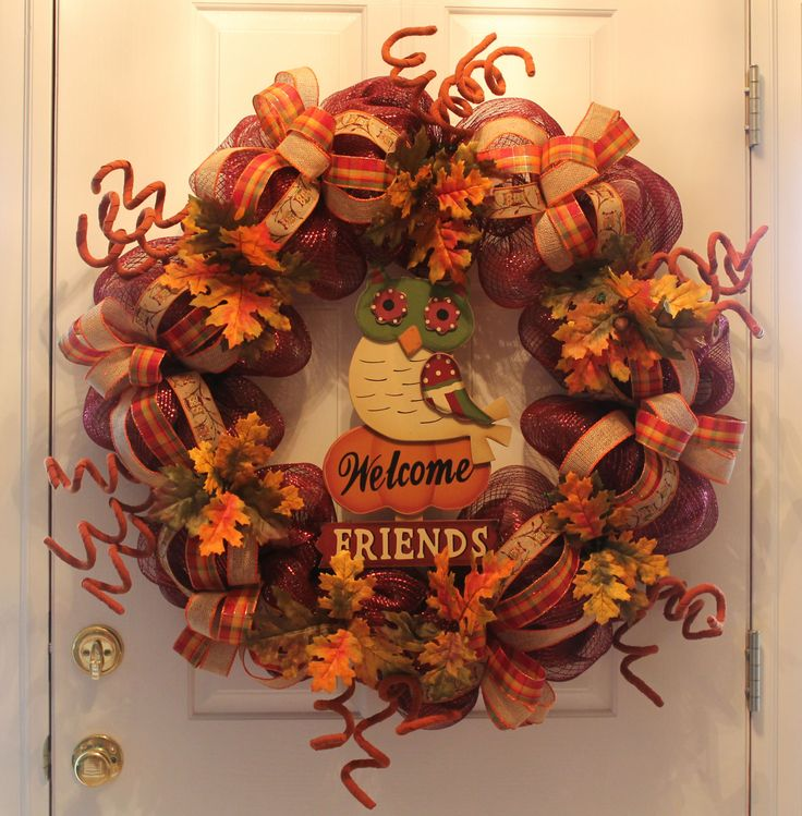 "So you are familiar with the saying ""Go big or go home"".  Well here is a big DIY mesh Thanksgiving wreath that you will have a ""hoot"" crafting.  Follow along with me and let's have some fun.You will need the following materials:1 24"" work wreath form1 roll of burgundy deco mesh (21"" wide)3 rolls of 1 1/2"" wide ribbon, varying patterns, coordinating colors2 Fall leaf floral stems6 Large ""curly"" floral picksFall yard stakeOf course the mesh goes on first.  Starting on the inside..."