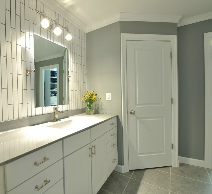 then and now master bathroom subway tile