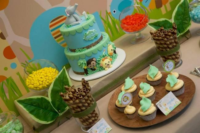 Boys First Birthday Party Jungle Themed Table Ideas