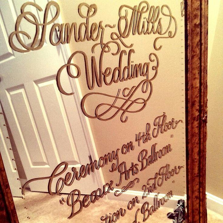Custom calligraphy wedding reception sign mirror in