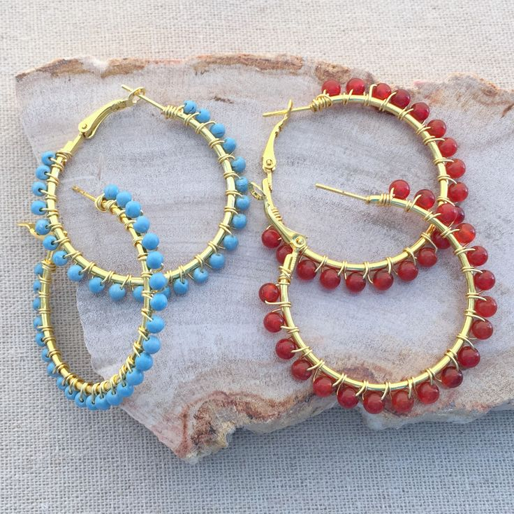 Add beads to your hoops with wire wrapping. tutorial.