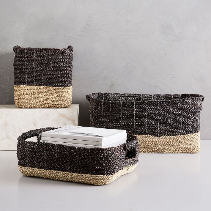 Two Tone Woven Baskets Ndash Natural Black Woven Baskets Storage Storage Baskets Seagrass Basket