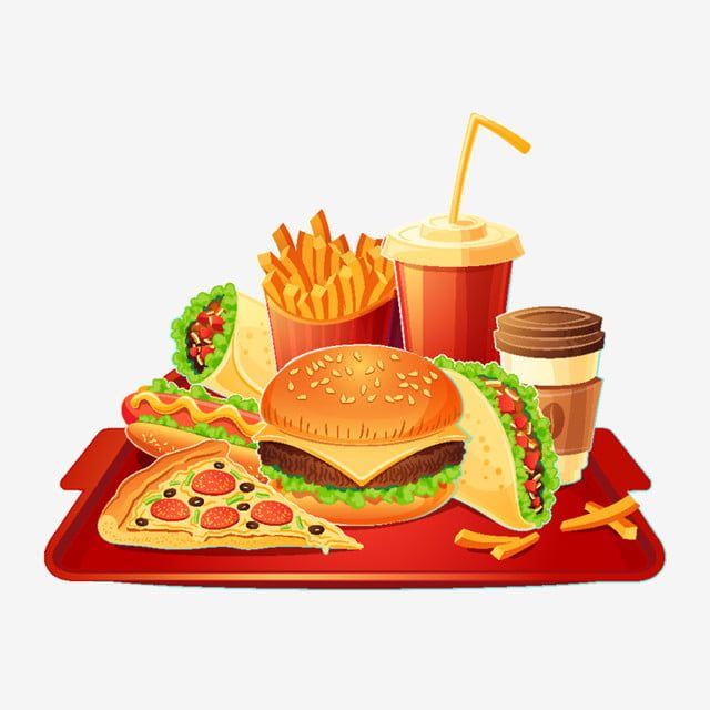 Vector Cartoon Illustration Of A Traditional Set Of Fast Food Me Red Dogs Fast Food Clipart Pizza Food Png And Vector With Transparent Background For Free Do Food Cartoon Fast Food