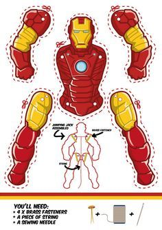 Iron Man as a Jumping Jack. Dowload template free. Another cool superhero puppet.