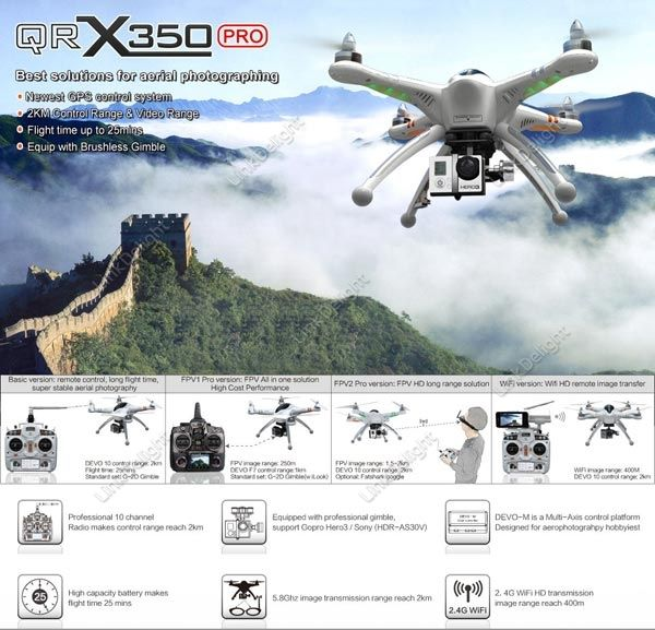 Discount Walkera QR X350 Pro FPV RC Quadcopter DEVO10 G-2D RX-LCD5802 TS832 Left Hand Throttle with US$867.99 Online Sale