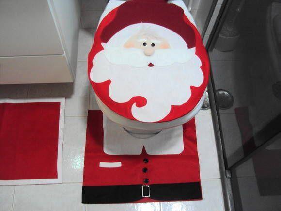 Jogo de banheiro de Natal, com lindo papai noel no assento do vaso, confeccionado todo em feltro, linda opção para presentear quem você ama. Desde já feliz natal cheio de fofuras. EM BREVE MAIS PRODUTOS NATALINOS ohohohoh!!!!! R$140,00