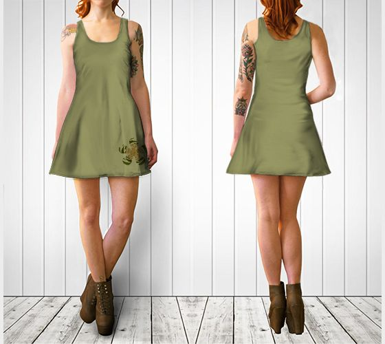 """Flare dress """"Striped Camouflage Retro Flower Flare Dress"""" by Cori-Beth's Originals at Art of Where."""