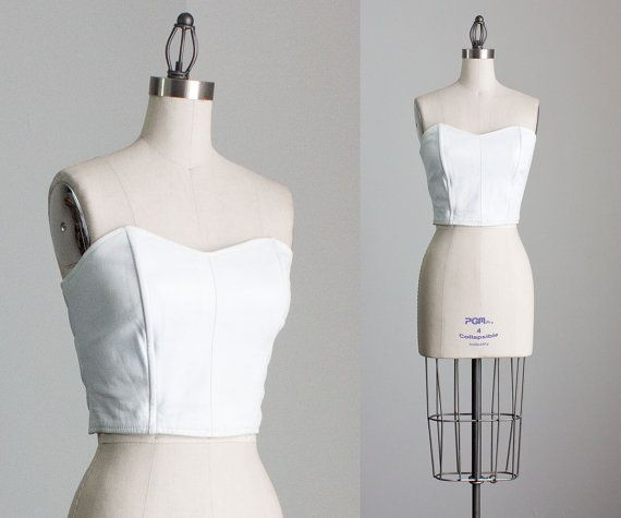 80s Vintage White Leather Strapless Bustier / Medium by decades, $92.00
