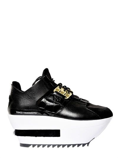 Y-3 Neoprene Calfskin Kyura Wedges in Black (black/white) sold out