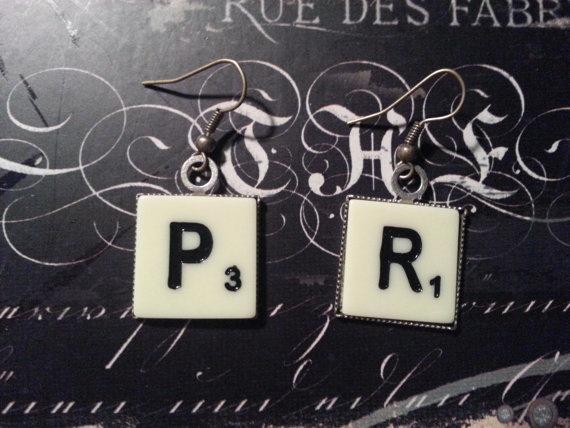 Industrial ScrabbleInspired Letter Tile Earrings by LitGeekJewelry, $8.00