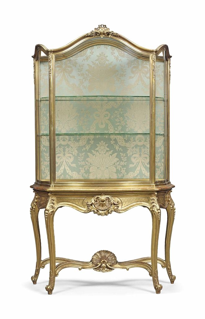 1887 ~ French ormolu & gilt wood vitrine cabinet-on-stand - by Henry Dasson - 177 Best FRENCH VITRINE CABINET,S Images On Pinterest Antique