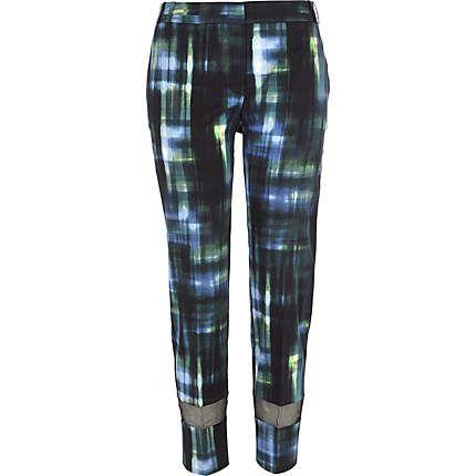 Dark green check mesh panel trousers $30.00  riverisland