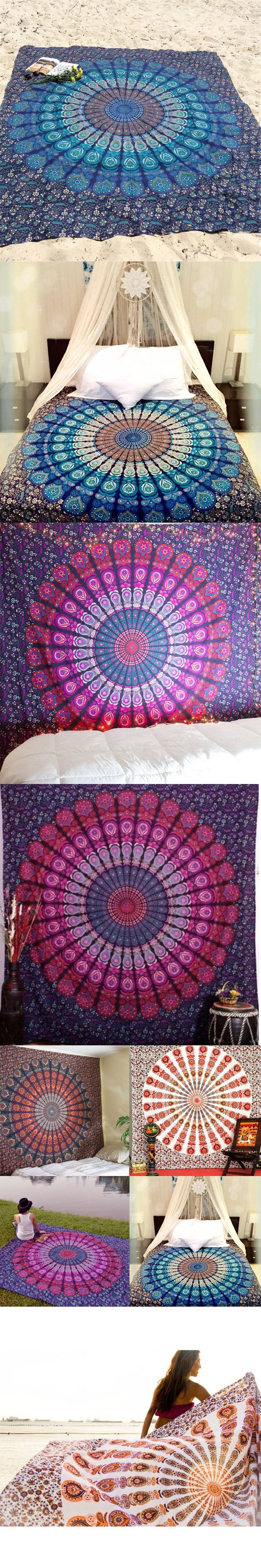 New Indian Mandala Peacock Printed Tapestry Wall Hanging Hippie Boho Table Cloth Beach Throw Towel Yoga Mat Home Decor 210*148cm $14.53