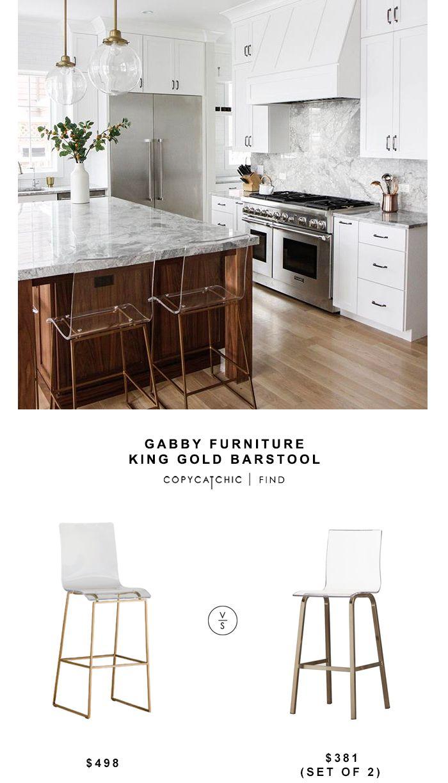 Gabby Furniture King Gold Barstool