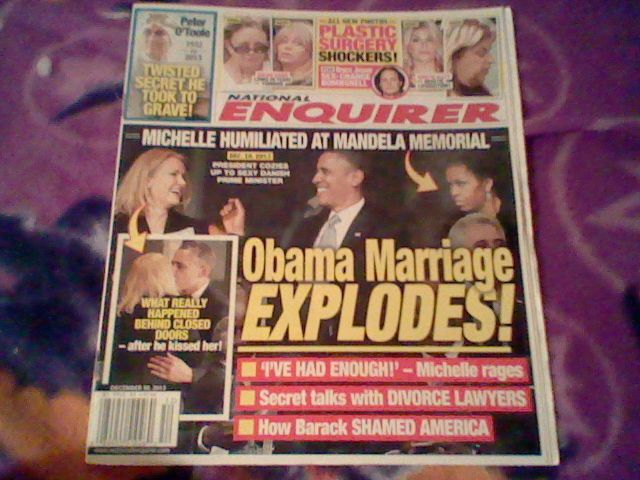 National Enquirer December 30,2013;Obama Marriage Explodes!O'Toole, Plastic Surg