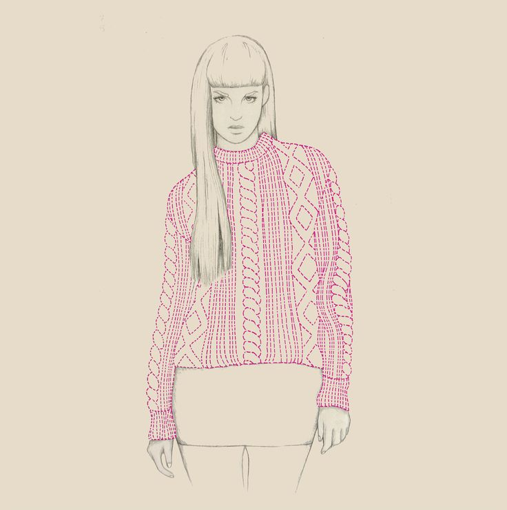 Knitwear fashion illustration by Hannah West in penci
