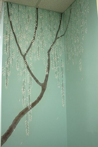 Tree Mural For Bedroom But With Light Purple Background And Wisteria Hanging Off The Branches