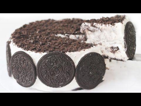 OREO CAKE ICE CREAM Recipe Eggless Cookies & Cream 오레오 아이스크림 케익 만들기 Pastel de OREO Helado - YouTube