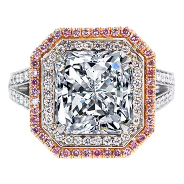 Large Radiant Diamond Ring White & Pink Diamonds Halo: Diamond Engagement Rings, Pink Diamond Ring, Bling, Diamond Wedding Rings, Girl, Engagement Rings Unique, Green Diamond Rings, Jewelry Rings, Pink Diamonds