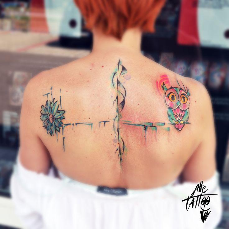 alletattoo alle tattoo avantgarde flower owl gufo tatuaggio