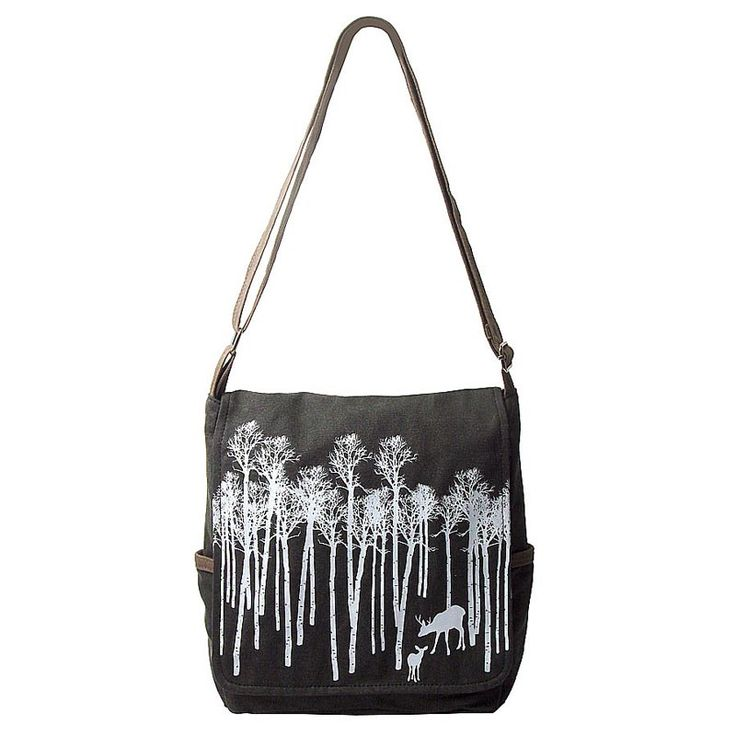 Small cotton canvas satchel bag with screen print design.