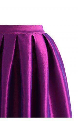 La Diva Pleated Full Skirt in Violet - Retro, Indie and Unique Fashion