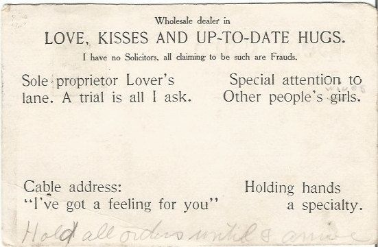 Black and White Lovers Coupon from 1906 Undivided Back period Vintage Postcard Valentine's Day Greeting by postcardsintheattic on Etsy