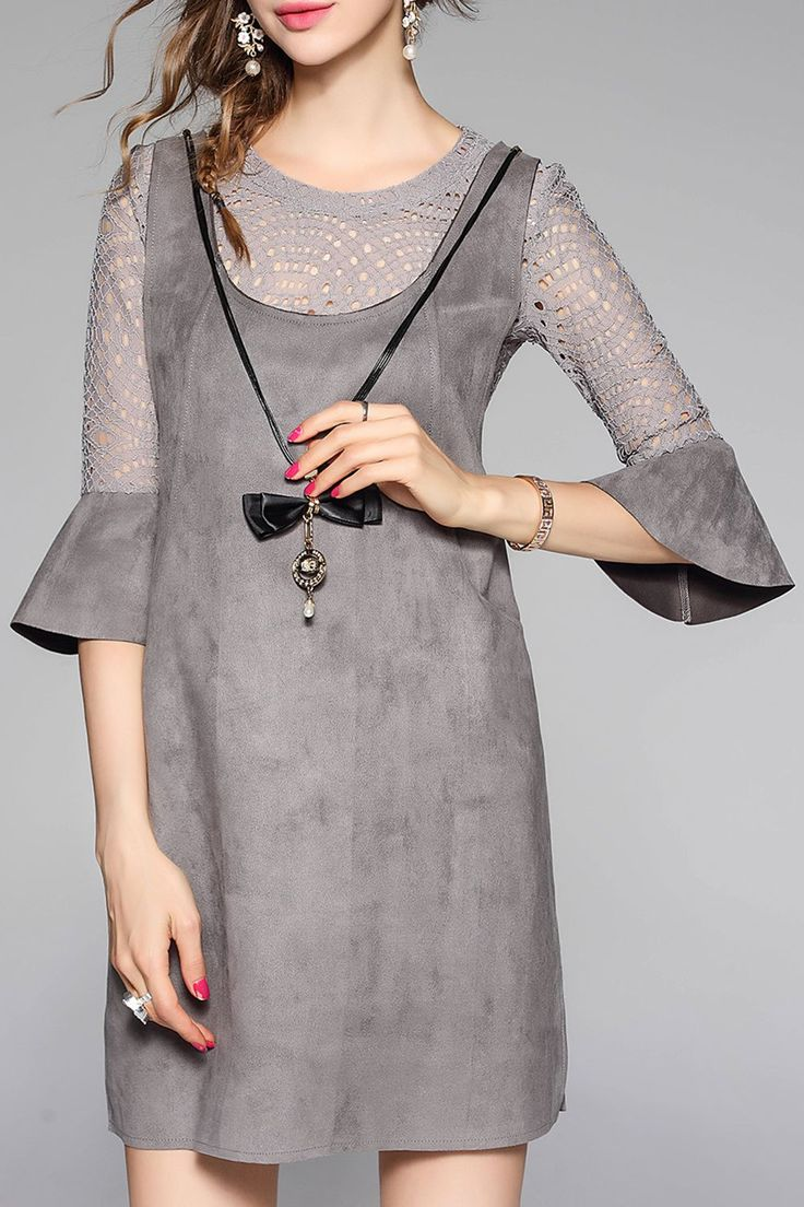 WLZD -  Flare Sleeve Lace Blouse With Suede Dress