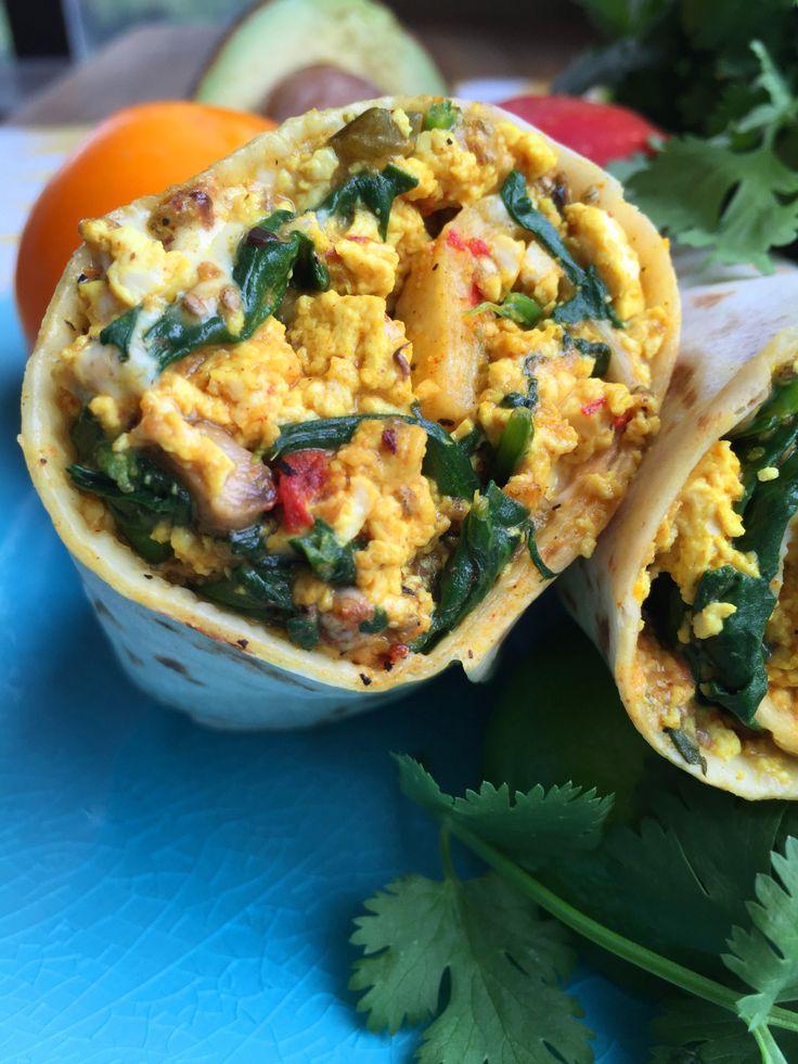 Vegan Tofu Scramble Breakfast Burrito with Mixed Vegetables & Cheese