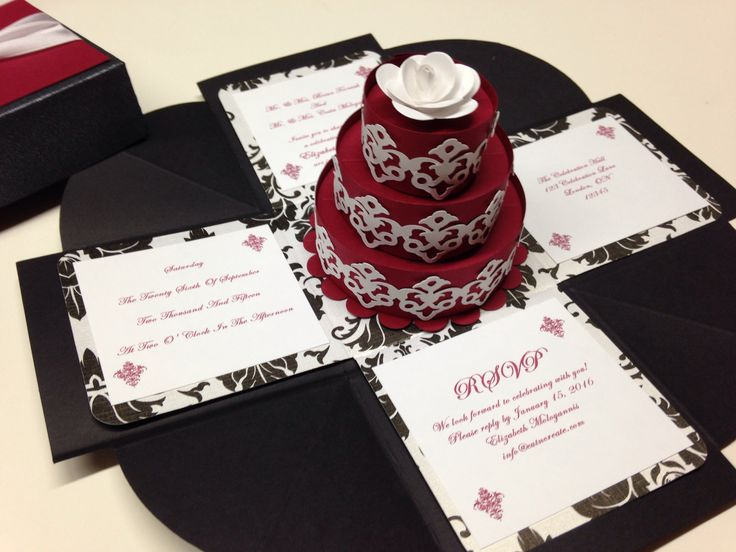 Red And Black Wedding Invitations Templates: Exploding Boxes! Black, Red And Black & White Damask