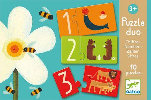 Puzzle Duo Chiffres est un puzzle é,ducatif proposé, par Djeco. Ce puzzle a pour but de sensibiliser les enfants dè,s 3 ans (petite section de maternelle) à, la valeur des nombres et à, leur repré,sentation. Duo chiffres est un jeu é,ducatif Djeco traditionnel au design soigné,. Il est composé, de 20 piè,ces