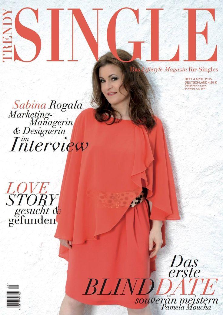 Cover Trendy Single Magaz April 2015. Kleid Karin H Orange. Covermodel: Sabina Rogala.