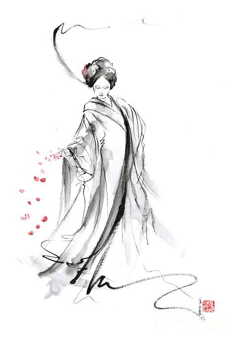 Cherry Blossom Geisha   Geisha With Cherry Blossom Flower Print by Mariusz Szmerdt