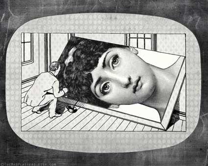 portrait Cavalieri melamine platter by TheMadPlatters on Etsy