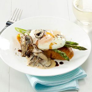 Mushroom & Asparagus Eggs Benedict Recipe from Taste of Home -- shared by Nadine Mesch of Mount Healthy, Ohio