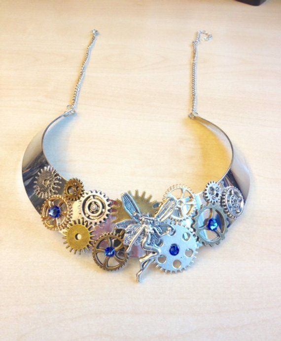 bf8797b55 Blue elf steampunk jewelry set with cogs, gears, Swarovski crystal blue  sapphire