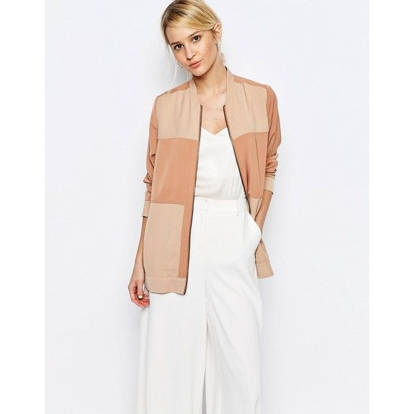 Neon Rose Panelled Bomber Jacket ($78) ❤ liked on Polyvore featuring outerwear, jackets, tan, pocket jacket, tan bomber jacket, white zip jacket, zipper jacket and white bomber jacket