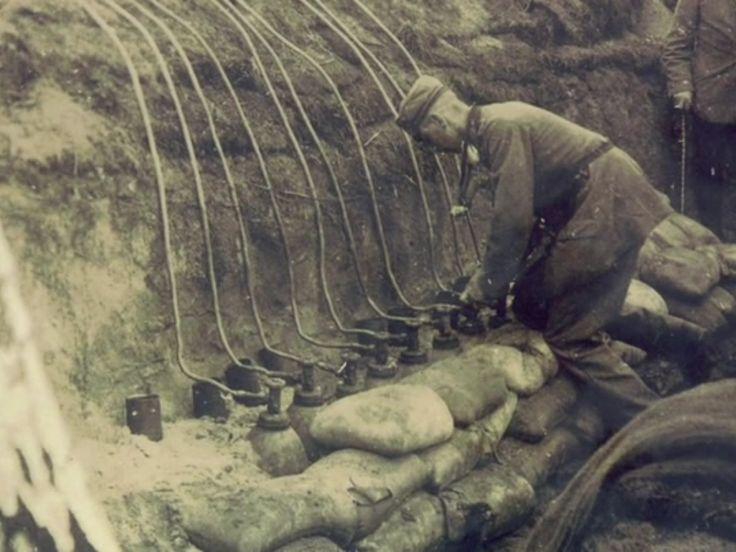 German soldier releasing gas