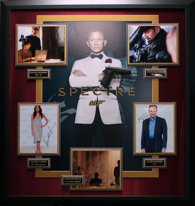 SPECTRE Multi-Signed 5 Photo With Replica Gun Collage Display.