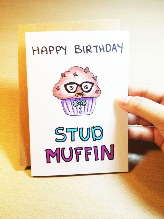 Funny Birthday card boyfriend, Happy Birthday Stud Muffin, hand drawn card for best friend, husband, cartoon muffin Funny Birthday card boyfriend Happy Birthday by LoveNCreativity