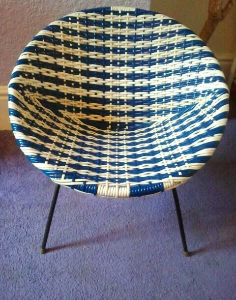 1960s Blue and White Basket Chair