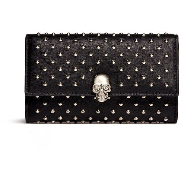 Alexander Mcqueen Skull charm stud leather French wallet ($845) ❤ liked on Polyvore featuring bags, wallets, black, studded skull bag, skull bag, hinge wallet, studded leather bag and skull wallet