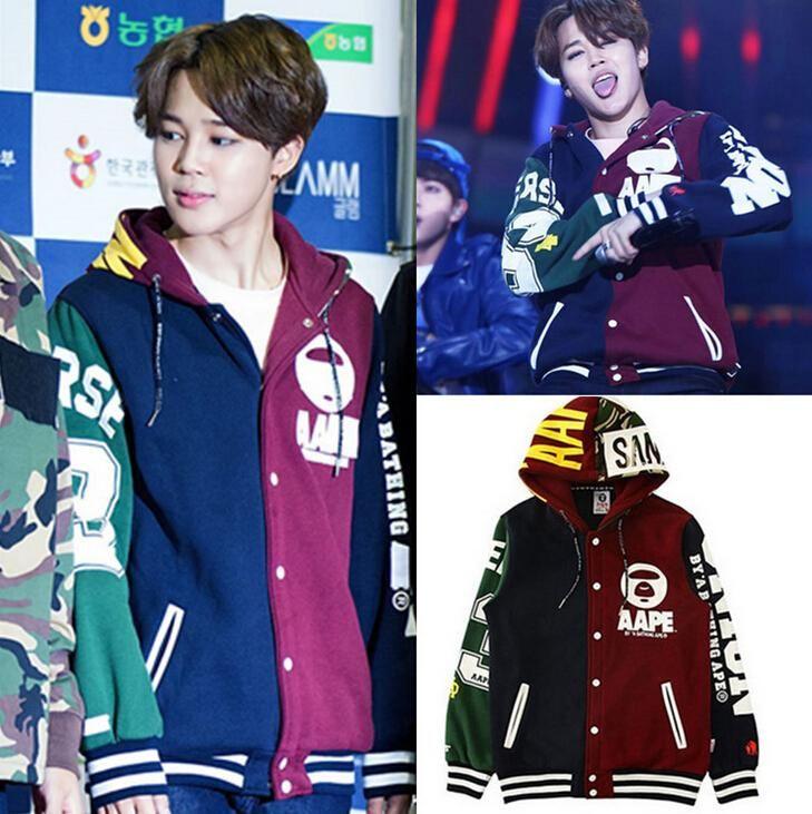 kpop BTS JIMIN baseball uniform cotton hoodie coat with hat