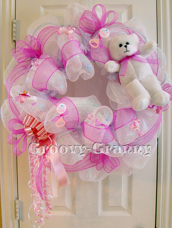 146 best images about baby door wreath on pinterest for Baby shower door decoration