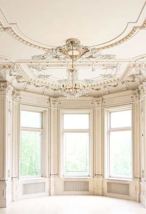 classical interior. drawing room. ornate ceiling
