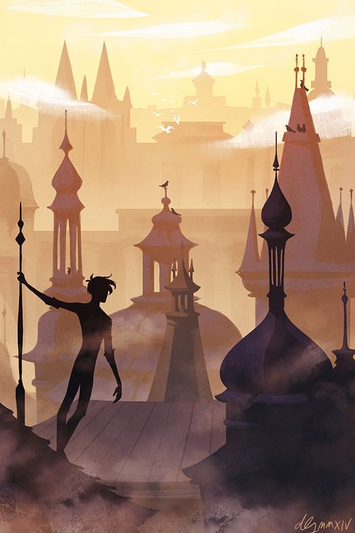 He alighted atop a roof, skidded down a few feet, and grabbed one of the spires to steady himself, then looked out over the canopy of buildings as the sun rose, sending the morning mist skittering away around him.