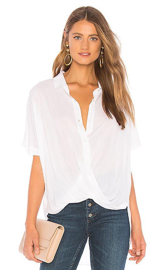 6ffcbdb0eeb1 Wrap Hem Dolman Sleeve Shirt in Optic White