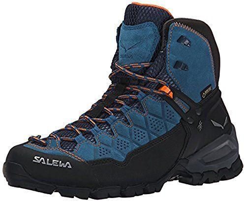 Salewa Womens Alp Trainer Mid GTX Boots Washed Denim  Carrot 7  Etip Lite Gripper Glove Bundle *** For more information, visit image link.